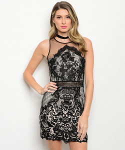 S13-3-4-D100519 BLACK TAN FLORAL LACE DRESS 2-2-2