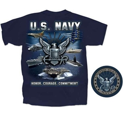 T-Shirt: Navy Honor Courage Commitment