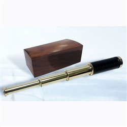 Telescope: Black leather brass telescope