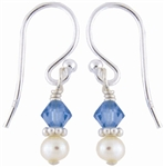 Simple Pearl and Crystal Earrings