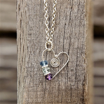 Sister and Best Friend Birthstone Heart Necklace