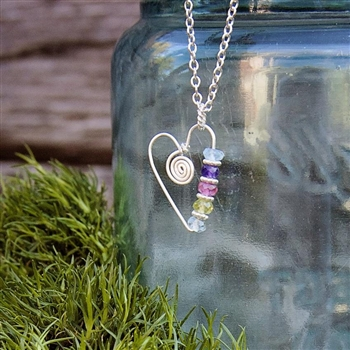 Family Birthstone Heart Charm Necklace