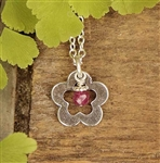 Flower Birthstone Charm Necklace
