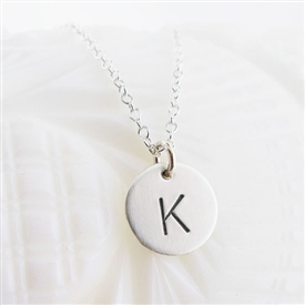 Tiny Stamped Initial Necklace by {Jules} jewelry