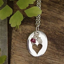 Open Heart Charm Necklace - Oval