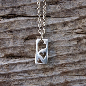 Triple Open Heart Charm Necklace - Rectangle