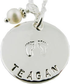 baby feet personalized hand-stamped necklace in silver or gold