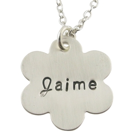Daisy Hand-Stamped Necklace in Sterling Silver by Jules jewelry.