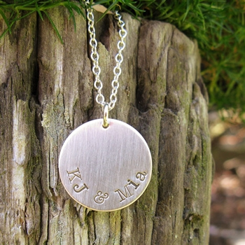 Hand Stamped Circle Necklace Personalized in Sterling Silver from {Jules} jewelry