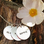 Straight Name Hand Stamped Circle Necklace Personalized in Sterling Silver from {Jules} jewelry