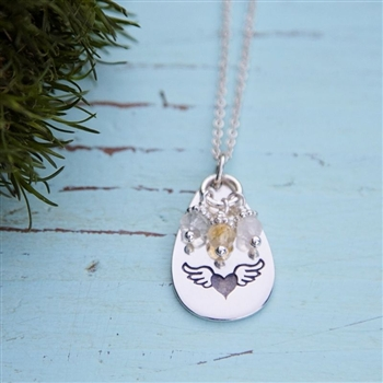 My Heart Takes Wing - Teardrop Charm Necklace from {Jules} jewelry.