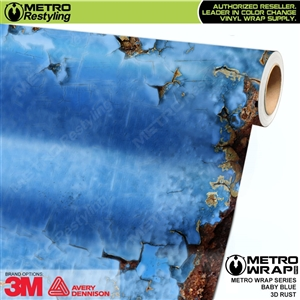 Metro 3D Baby Blue Rust Vinyl Car Wrap Film
