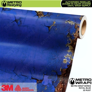 Metro 3D Royal Blue Rust Vinyl Wrap Film