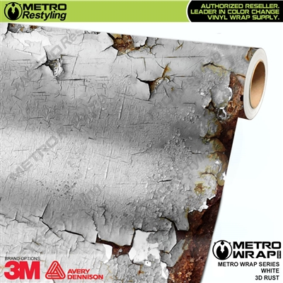 Metro 3D White Rust Vinyl Car Wrap Film