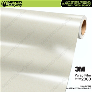 3M 2080 GP240 Gloss White Gold Sparkle vinyl car wrapping film