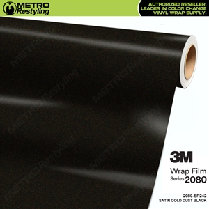 3M 2080 SP242 Satin Gold Dust Black vinyl car wrapping film