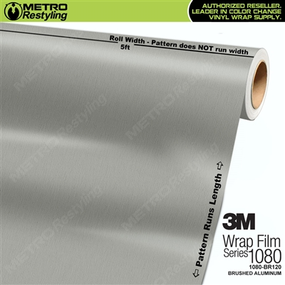 3M Series 1080 BR120 Brushed Aluminum Vinyl Wrapping Film