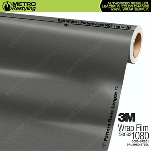 3M Scotchprint 1080 BR201 Brushed Steel Vinyl Vehicle Wrapping Film