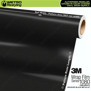 3M 1080 Brushed Black Metallic Vinyl Flex Car Wrap Film