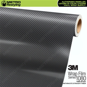 3M Scotchprint 1080 SF201 Anthracite Straight Fiber Vinyl Flex Wrapping Film