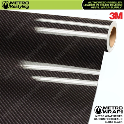 3M Printed High Gloss Real D Black Carbon Fiber Vinyl Wrap