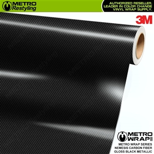 3M Printed Gloss Nemesis Black Metallic Carbon Fiber Vinyl Wrap