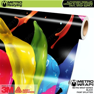 Metro Black Paint Splatter Vinyl Vehicle Wrap Film