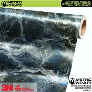 Metro Blue Bordeaux Marble Vinyl Car Wrap Film
