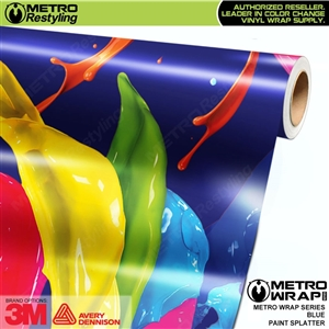 Metro Blue Paint Splatter Vinyl Wrap Film