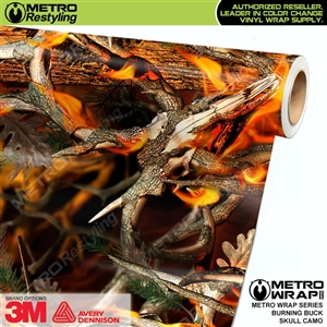 Burning Buck Skull Camouflage Car Wrap Vinyl