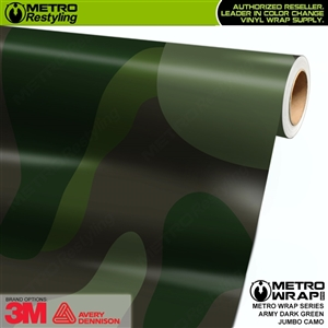 Jumbo Army Dark Green Camouflage Vinyl Car Wrap Film