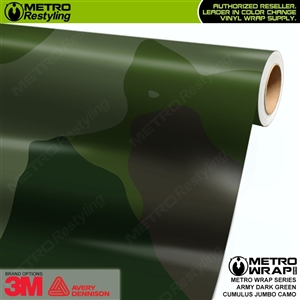 Jumbo Cumulus Army Dark Green Camouflage Vinyl Car Wrap Film