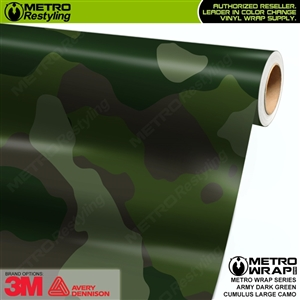 Large Cumulus Army Dark Green Camouflage Vinyl Car Wrap Film