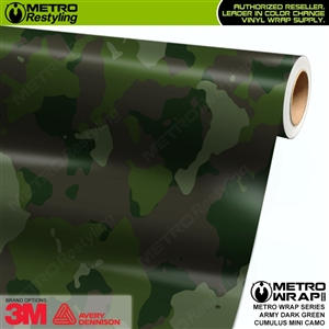 Mini Cumulus Army Dark Green Camouflage Vinyl Car Wrap Film