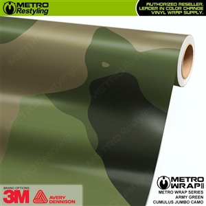 Jumbo Cumulus Army Green Camouflage Vinyl Car Wrap Film