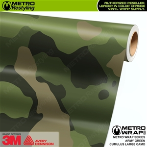 Large Cumulus Army Green Camouflage Vinyl Car Wrap Film