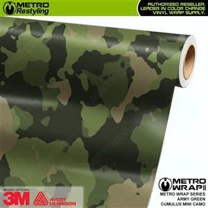 Mini Cumulus Army Green Camouflage Vinyl Car Wrap Film