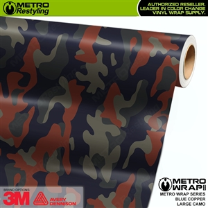 Large Blue Copper Camouflage Vinyl Vehicle Wrap Film