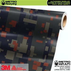 large digital blue copper camo vinyl wrap