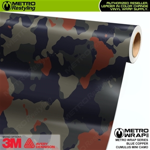 mini cumulus blue copper camo vinyl wrap