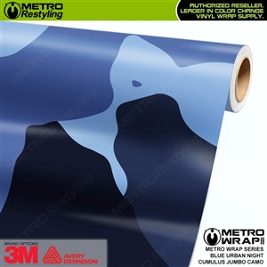 Jumbo Cumulus Blue Urban Night Camouflage Vinyl Car Wrap Film