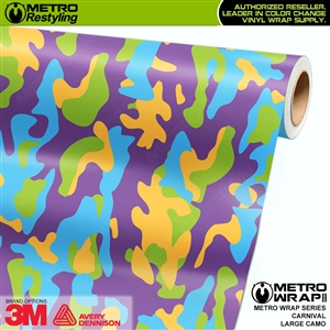 Large Carnival Camouflage Vinyl Vehicle Wrap Film