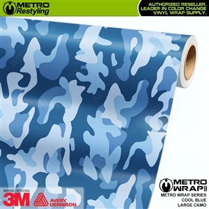 Large Cool Blue Camouflage Vinyl Vehicle Wrap Film
