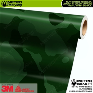 Large Cumulus Elite Green Camouflage Vinyl Car Wrap Film