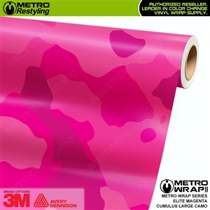 Large Cumulus Elite Magenta Camouflage Vinyl Car Wrap Film