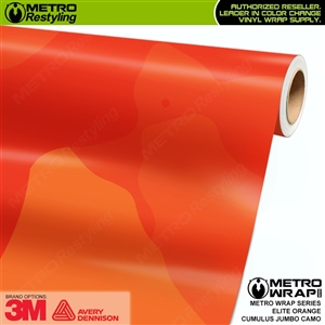 Jumbo Cumulus Elite Orange Camouflage Vinyl Car Wrap Film
