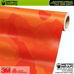 Large Cumulus Elite Orange Camouflage Vinyl Car Wrap Film