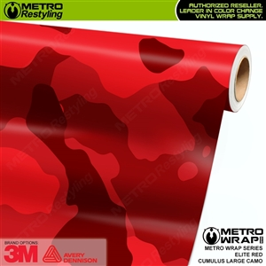 Large Cumulus Elite Red Camouflage Vinyl Car Wrap Film