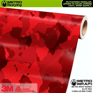 elite red mini cumulus camo vinyl wrap film