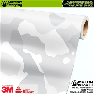 Large Cumulus Elite White Camouflage Vinyl Car Wrap Film